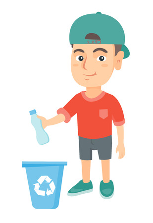 Eco-friendly caucasian boy throwing plastic bottle in recycle bin. Full length of little boy throwing plastic waste in recycling bin. Vector sketch cartoon illustration isolated on white background. Vettoriali