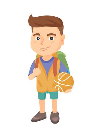 Joven colegial alegre caucásico con mochila sosteniendo una pelota de baloncesto. Longitud total de pequeño colegial con una pelota de baloncesto. Ilustración de dibujos animados de dibujo vectorial aislado sobre fondo blanco.