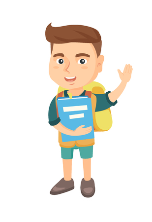 Happy caucasian schoolboy holding a book and waving his hand. Full length of smiling schoolboy making greeting gesture - waving hand. Vector sketch cartoon illustration isolated on white background.