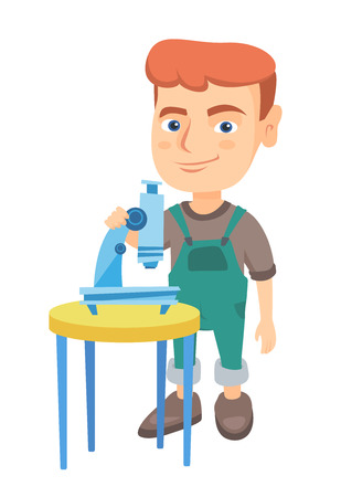 Happy little caucasian schoolboy conducting experiment with a microscope. Smiling schoolboy standing near a microscope. Vector sketch cartoon illustration isolated on white background.