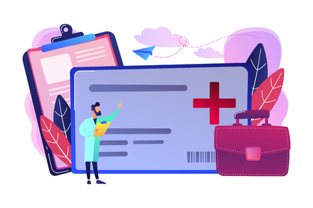 Healthcare smart card and doctor. Digital health and medical consultation, medical information smart card, healthcare organization card concept, violet palette. Vector isolated illustration. Ilustração