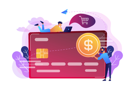 Credit card with dollar coin and users. E-commerce and online shopping, financial operations and plastic card, mobile payment and banking concept, violet palette. Illustration