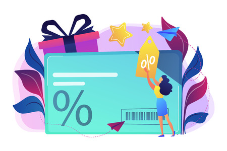 Discount card with percent sign and woman with discount tag. Loyalty program and customer service, retail and rewards card, loyalty points card concept, violet palette. Vector isolated illustration.