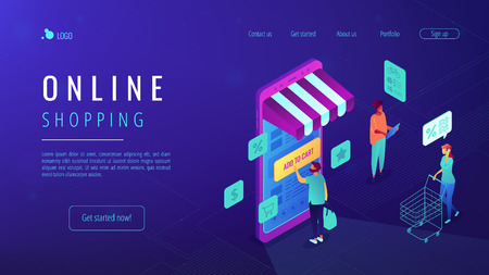Isometric users doing shopping online with mobile phone landing page. Mobile shopping, ordering and buying online, e-commerce concept. Blue violet background. Vector 3d isometric illustration. Illustration