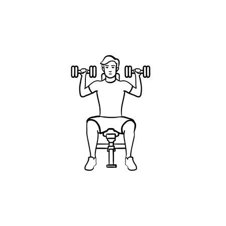 Young man exercising with dumbbells hand drawn outline doodle icon. Athletics and fitness, gym exercise concept. Vector sketch illustration for print, web, mobile and infographics on white background. Illustration