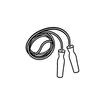 Jumping rope hand drawn outline doodle icon. Sport exercise, gym and fitness, healthy lifestyle concept. Vector sketch illustration for print, web, mobile and infographics on white background.