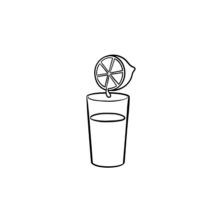 Glass of fresh lemon juice hand drawn outline doodle icon. Citrus juice, vitamin drink, healthy juice concept. Vector sketch illustration for print, web, mobile and infographics on white background.