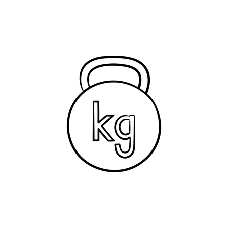 Gym kettlebell hand drawn outline doodle icon. Weight lifting, fitness and gym equipment, bodybuilding concept.  sketch illustration for print, web, mobile and infographics on white background.