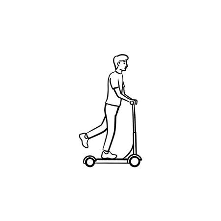 Man riding kick scooter hand drawn outline doodle icon. Outdoor sport, recreation and transport concept. Vector sketch illustration for print, web, mobile and infographics on white background.