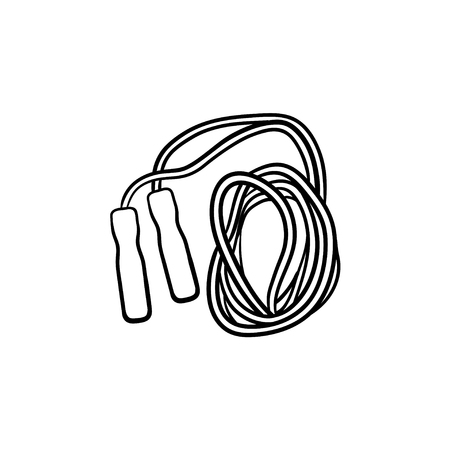 Jumping rope hand drawn outline doodle icon. Skipping activity, cardio exercise, gym equipment concept. Vector sketch illustration for print, web, mobile and infographics on white background.