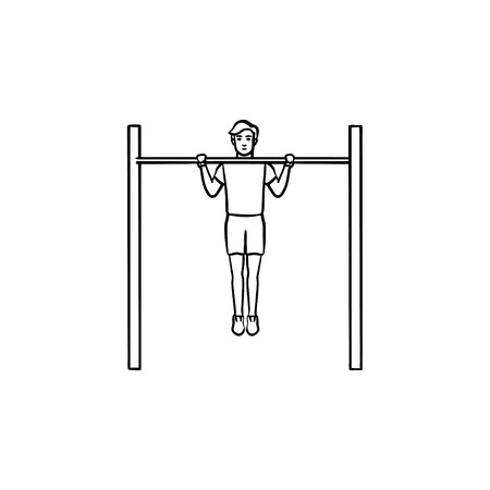 Man doing pull-ups on horizontal bar hand drawn outline doodle icon. Bodybuilding and gym workout concept. Vector sketch illustration for print, web, mobile and infographics on white background.