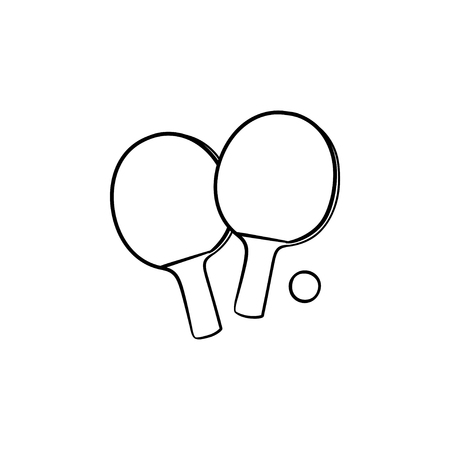 Table tennis rackets and ball hand drawn outline doodle icon. Table tennis equipment. Illustration