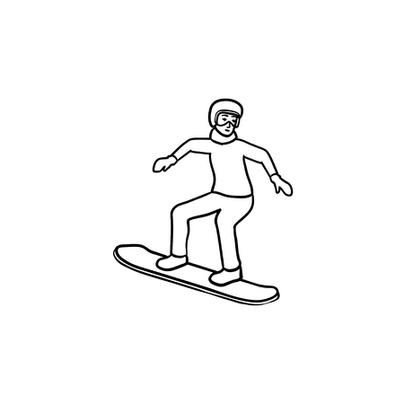 Snowboarder hand drawn outline doodle icon. Snowboarding equipment, snowboard riding and lifestyle concept.