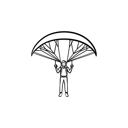 Skydiver flying with parachute hand drawn outline doodle icon. Skydiving activity, parachuting safety concept. Vector sketch illustration for print, web, mobile and infographics on white background
