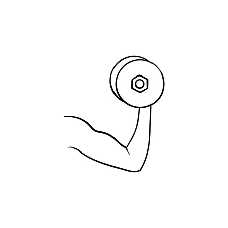 Arm with dumbbell hand drawn outline doodle icon. Bodybuilding, fitness and gym, biceps muscle concept. Vector sketch illustration for print, web, mobile and infographics on white background.