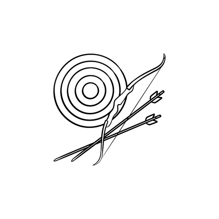 Target, bow and arrows hand drawn outline doodle icon. Arrows goal, bullseye and target board concept. Vector sketch illustration for print, web, mobile and infographics on white background.