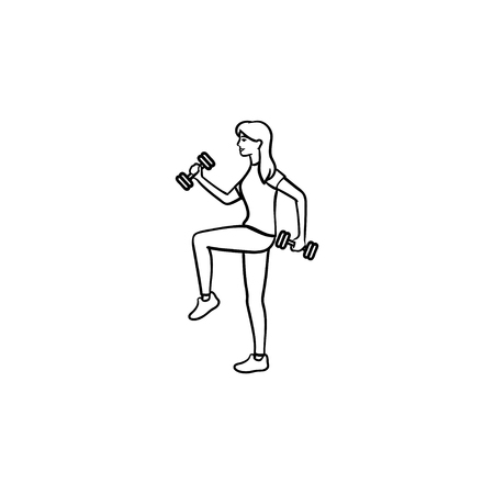 Woman training with dumbbells hand drawn outline doodle icon. Fitness in gym, bodybuilding exercises concept. Vector sketch illustration for print, web, mobile and infographics on white background.
