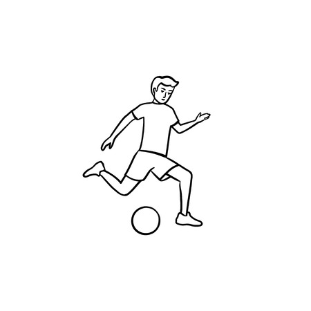 Soccer player kicking ball hand drawn outline doodle icon. Team sport, professional football, soccer concept. Vector sketch illustration for print, web, mobile and infographics on white background.