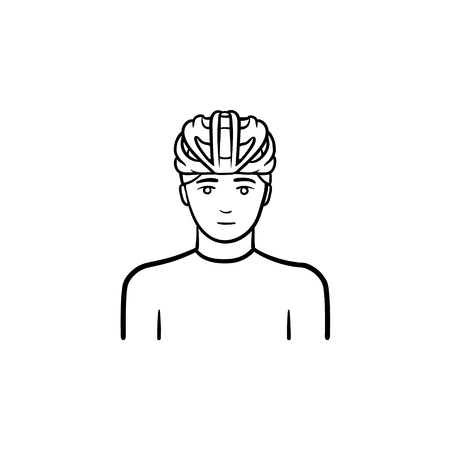 Man wearing bicycle helmet hand drawn outline doodle icon. Bicycle equipment, cycling and riding safety concept. Stock Photo