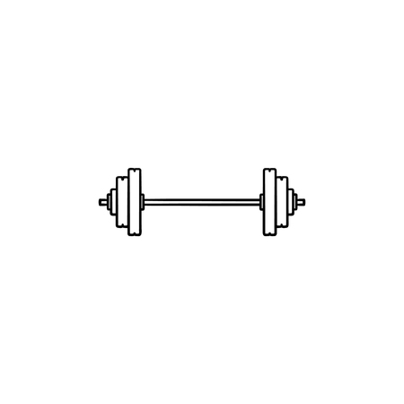 Weightlifting barbell hand drawn outline doodle icon. Weightlifting equipment, gym and fitness workout concept.