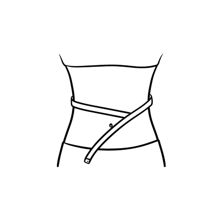 Waist with measuring tape hand drawn outline doodle icon. Diet and workout, weight loss and slim concept.