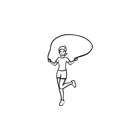 Young girl skipping over rope hand drawn outline doodle icon. Aerobic exercises, jump activity, health concept.