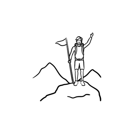 Climber with flag standing on top of mountain hand drawn outline doodle icon. Achieve, mountaineering concept.