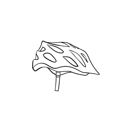 Bicycle helmet hand drawn outline doodle icon. Bicycle equipment, speed cycling, sportswear concept.