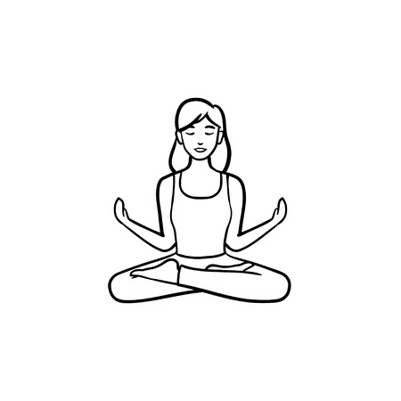 Woman sitting in yoga lotus pose hand drawn outline doodle icon. Yoga meditation, wellness, relaxation concept. Stock Photo
