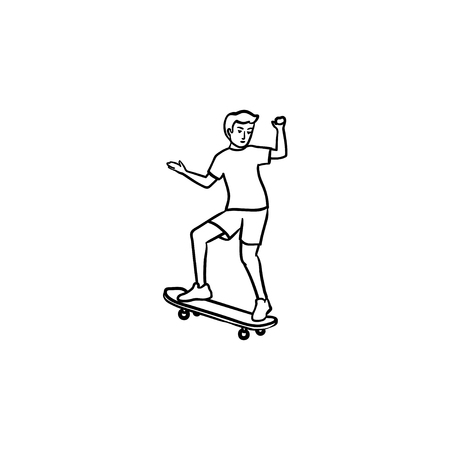 Man riding skateboard hand drawn outline doodle icon. Skateboarding equipment, urban skate park concept. Stock Photo