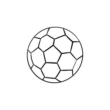 Soccer ball hand drawn outline doodle icon. Soccer kick and goal, football equipment, team ball game concept.
