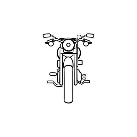 Front of motorbike hand drawn outline doodle icon. Speed ride, motorcycle sport race, fast driving concept.