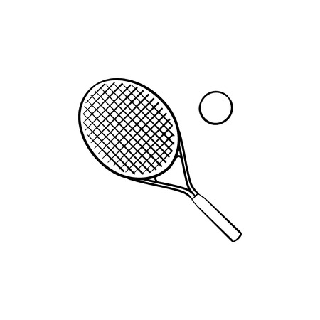 Tennis racket and tennis ball hand drawn outline doodle icon. Tennis court and equipment, leisure concept.