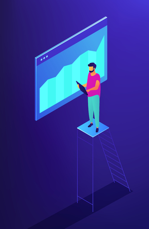 Isometric SEO specialist monitoring data with chart illustration. SEO optimization, digital marketing, data analysis and research concept. Blue violet background. Vector 3d isometric illustration. Иллюстрация