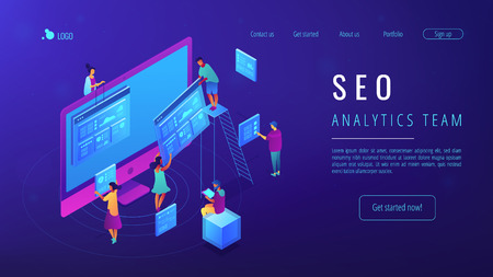 Isometric IT specialists working with web pages and charts landing page. Seo analysis and optimization, seo strategies and marketing concept. Blue violet background. Vector 3d isometric illustration. Illustration