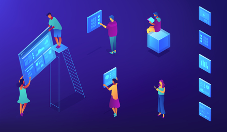 Isometric IT specialists with icons of SEO services illustration. Digital marketing, SEO, content marketing, target audience concept. Blue violet background. Vector 3d isometric illustration.
