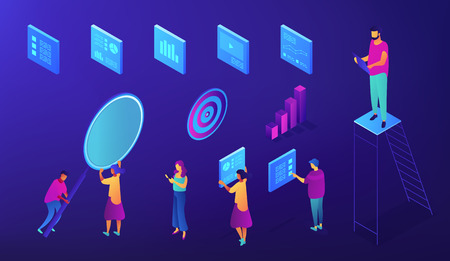 IT team SEO experts are working with Content Management System isometric set. Seo specialist serch engine keywords, Blue violet background. Vector 3d isometric illustration.