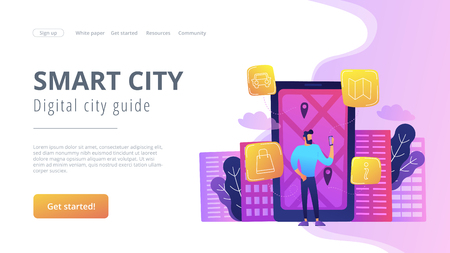 A man near huge LCD screen with city map and gps tags on the screen getting information about the city. Smart city and digital city guide landing page. Violet palette.