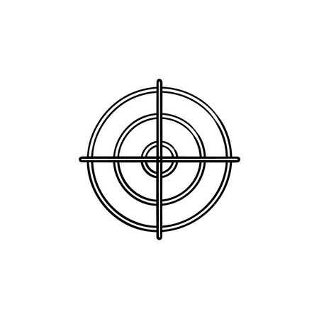 Gun target hand drawn outline doodle icon. Crosshair, shooting focus and bullseye, bullet aim concept. Vector sketch illustration for print, web, mobile and infographics on white background.