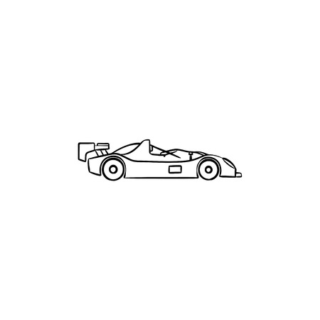 Race car hand drawn outline doodle icon. Racing competition, formula one, fast car championship concept. Vector sketch illustration for print, web, mobile and infographics on white background. Vettoriali