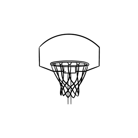 Basketball hoop and net hand drawn outline doodle icon. Basketball equipment, game goal, recreation concept. Vector sketch illustration for print, web, mobile and infographics on white background. Vektorové ilustrace
