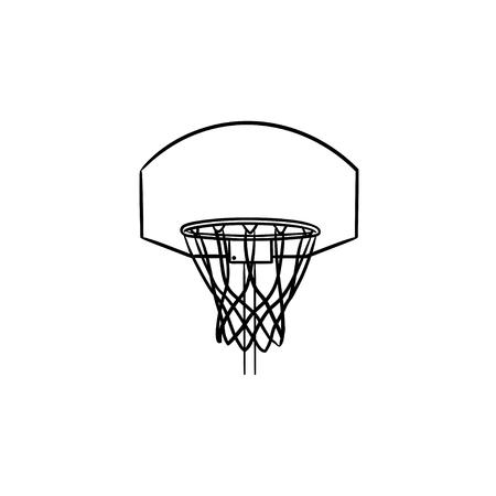 Panier de basket et icône de doodle contour dessiné à la main net. Équipement de basket-ball, objectif de jeu, concept de loisirs. Illustration de croquis de vecteur pour l'impression, le web, le mobile et l'infographie sur fond blanc. Vecteurs