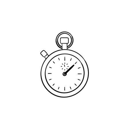 Stopwatch hand drawn outline doodle icon. Time measurement, time interval and countdown, quick start concept. Vector sketch illustration for print, web, mobile and infographics on white background.