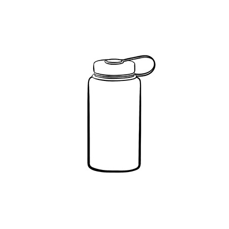 Sports water bottle hand drawn outline doodle icon. Plastic water container, thirst and refresh, energy concept. Vector sketch illustration for print, web, mobile and infographics on white background. Stockfoto