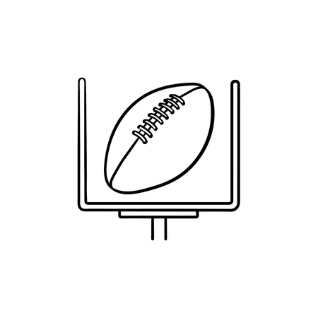 American football goal and ball hand drawn outline doodle icon. Football equipment, field goal concept. Vector sketch illustration for print, web, mobile and infographics on white background.