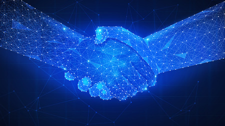 Two hands handshake polygonal low poly hud illustration. Smart contract agreement, blockchain and cryptocurrency, business network concept. Archivio Fotografico