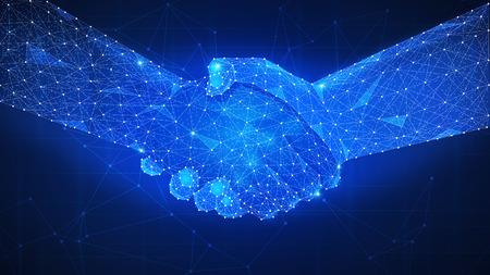 Zwei Hände Handschlag polygonale niedrige Poly Hud Illustration. Intelligente Vertragsvereinbarung, Blockchain und Kryptowährung, Geschäftsnetzwerkkonzept.
