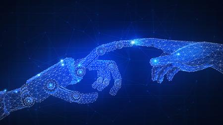Bras de robot touchant la main humaine. Automatisation, robotique, 4IR quatrième révolution industrielle, intelligence artificielle IA, accord de contrat intelligent, blockchain et crypto-monnaie, concept de réseau d'entreprise