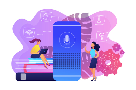 Two female users and smart home assistant. Smart home office main controlling hub. IoT technology, voice controlled assistant monitoring house concept, violet palette. Vector isolated illustration. 矢量图像