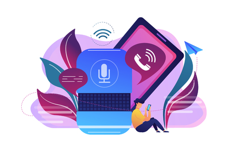 User making hands-free phone calls with smart speaker. Smart home assistant, IoT technology and voice controlled digital devices concept, violet palette. Vector isolated illustration. 矢量图像